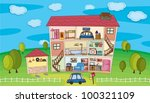 illustration on inside a house | Shutterstock .eps vector #100321109