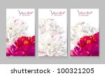 floral greeting cards with red... | Shutterstock .eps vector #100321205