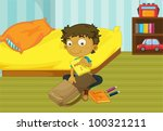 illustration of a boy packing...