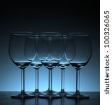 Empty wine glass in Beautiful light background - stock photo