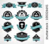 vintage labels and ribbon retro ... | Shutterstock .eps vector #100326641