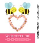 cute card with fun bee. vector... | Shutterstock .eps vector #100353809