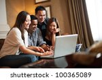 attractive asian friends in... | Shutterstock . vector #100365089