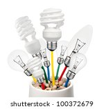 New Ideas - Various Lightbulbs Growing in a Pot Isolated on White Background. Golf Ball, Normal, Candle and Saver type Lightbulbs - stock photo