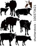 set cow a calf animals it is...   Shutterstock .eps vector #100373621