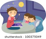 Illustration of Kids Listening to a Bedtime Story - stock vector