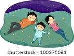 Illustration of a Family Stargazing - stock vector