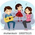 Illustration of a Family Singing Together - stock vector