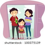 Illustration of a Family Carrying Housewarming Presents - stock vector
