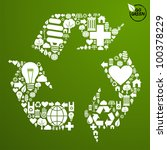 Go green icons set in recycle symbol shape background. Vector file available. - stock vector