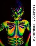 Man With Fluorescent Bodyart....
