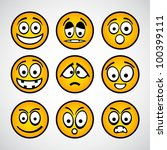Set of funny yellow emoticons. - stock vector