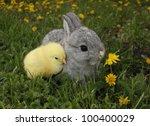 gray rabbit bunny baby and... | Shutterstock . vector #100400029