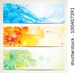 set of watercolor style header... | Shutterstock .eps vector #100407391