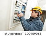 one electrician builder at work ... | Shutterstock . vector #100409065