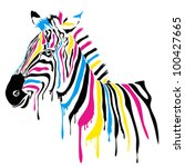 zebra with colored stripes | Shutterstock .eps vector #100427665