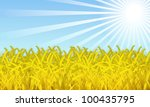 wheat on the sky background is... | Shutterstock . vector #100435795