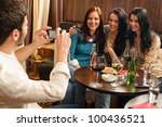 young friends at the bar man... | Shutterstock . vector #100436521