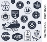 set of vintage retro nautical... | Shutterstock .eps vector #100440901