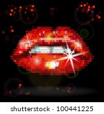 sequin red lips on black...