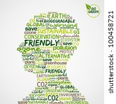 Go Green. Man head with words cloud about environmental conservation. - stock photo