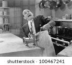 man with tie stuck in meat... | Shutterstock . vector #100467241