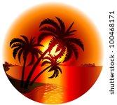 raster version. sunset on a... | Shutterstock . vector #100468171