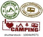 set of camping grunge stamps ... | Shutterstock .eps vector #100469071