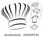 five chef hat silhouettes in... | Shutterstock .eps vector #100469134
