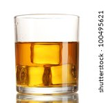 glass of whiskey and ice... | Shutterstock . vector #100495621