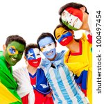 Latinamerican Group With Flags...