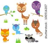 Stock vector cute animal set vector version 100516207