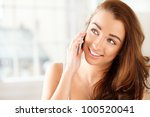 pretty young woman using mobile ... | Shutterstock . vector #100520041