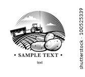 potato against farm tractor in... | Shutterstock .eps vector #100525339