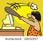 frustrated caveman clobbers his ... | Shutterstock . vector #10052557