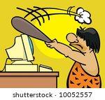 frustrated caveman clobbers his ... | Shutterstock . vector #10052557