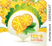 slices orange with leaf and... | Shutterstock . vector #100546147