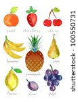 watercolor fruits  isolated | Shutterstock . vector #100550731