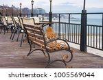 sunny winter day at seaside.... | Shutterstock . vector #1005569044