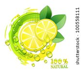 slices yellow lemon with drops... | Shutterstock . vector #100558111