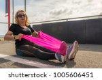 mature woman  70 75  stretching ... | Shutterstock . vector #1005606451