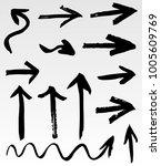 grunge vector arrows. dry brush ... | Shutterstock .eps vector #1005609769