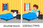 little boy sleeping in bedroom... | Shutterstock . vector #1005617995