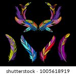 feathers embroidery set with... | Shutterstock .eps vector #1005618919