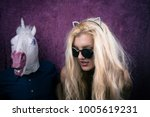 freaky blonde girl in... | Shutterstock . vector #1005619231