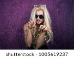 portrait of freaky blonde girl... | Shutterstock . vector #1005619237