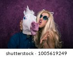 portrait of happy unicorn in... | Shutterstock . vector #1005619249