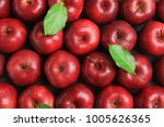 fresh ripe red apples with... | Shutterstock . vector #1005626365