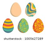 five easter eggs  one clear and ... | Shutterstock .eps vector #1005627289