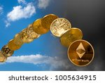 ethereum and bitcoin coins... | Shutterstock . vector #1005634915